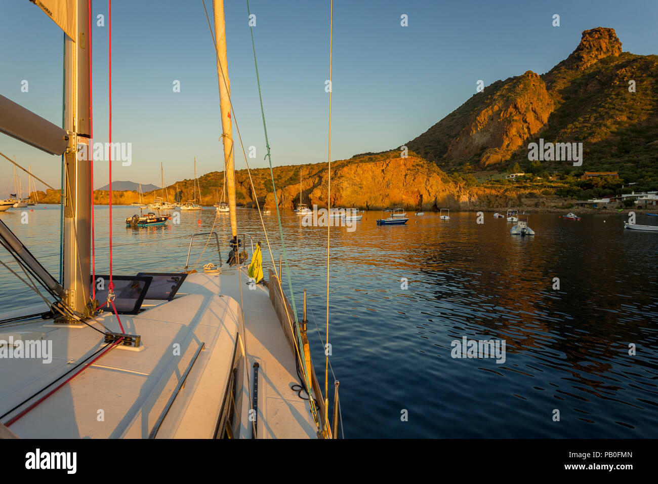 Sailboat anchored in Panarea, Aeolian islands, Sicily. - Stock Image