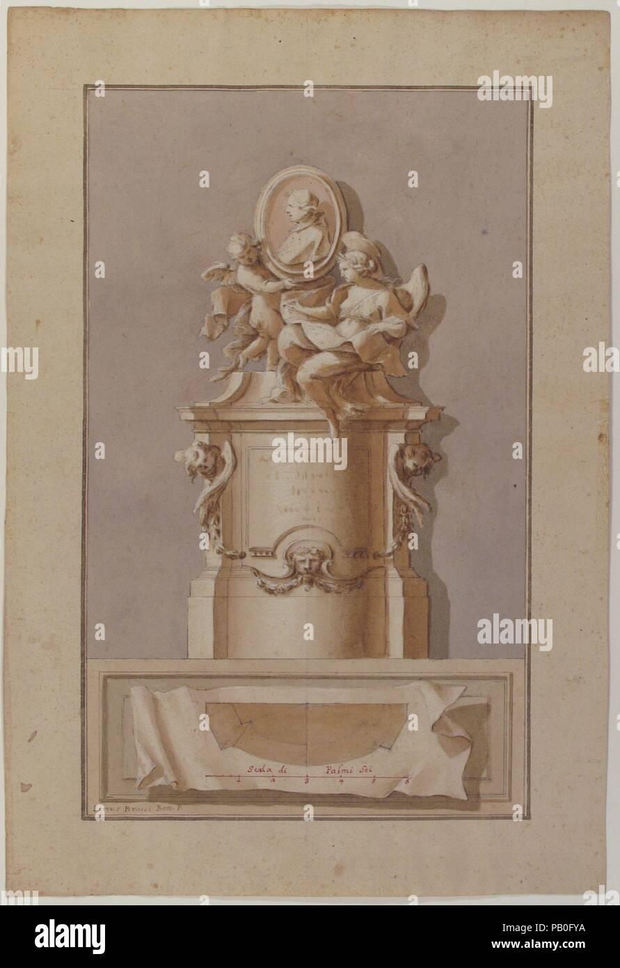 Design for a Tomb. Artist: Pietro Bracci (Italian, Rome 1700-1773 Rome). Dimensions: 15 5/8 x 10 9/16in. (39.7 x 26.8cm). Date: 1700-1773. Museum: Metropolitan Museum of Art, New York, USA. Stock Photo