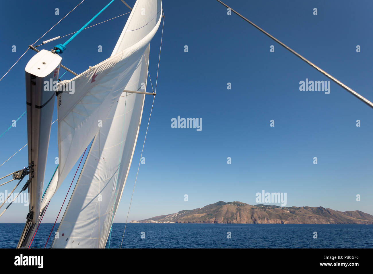 Sailing the Aeolian islands, Lipari, Sicily. - Stock Image