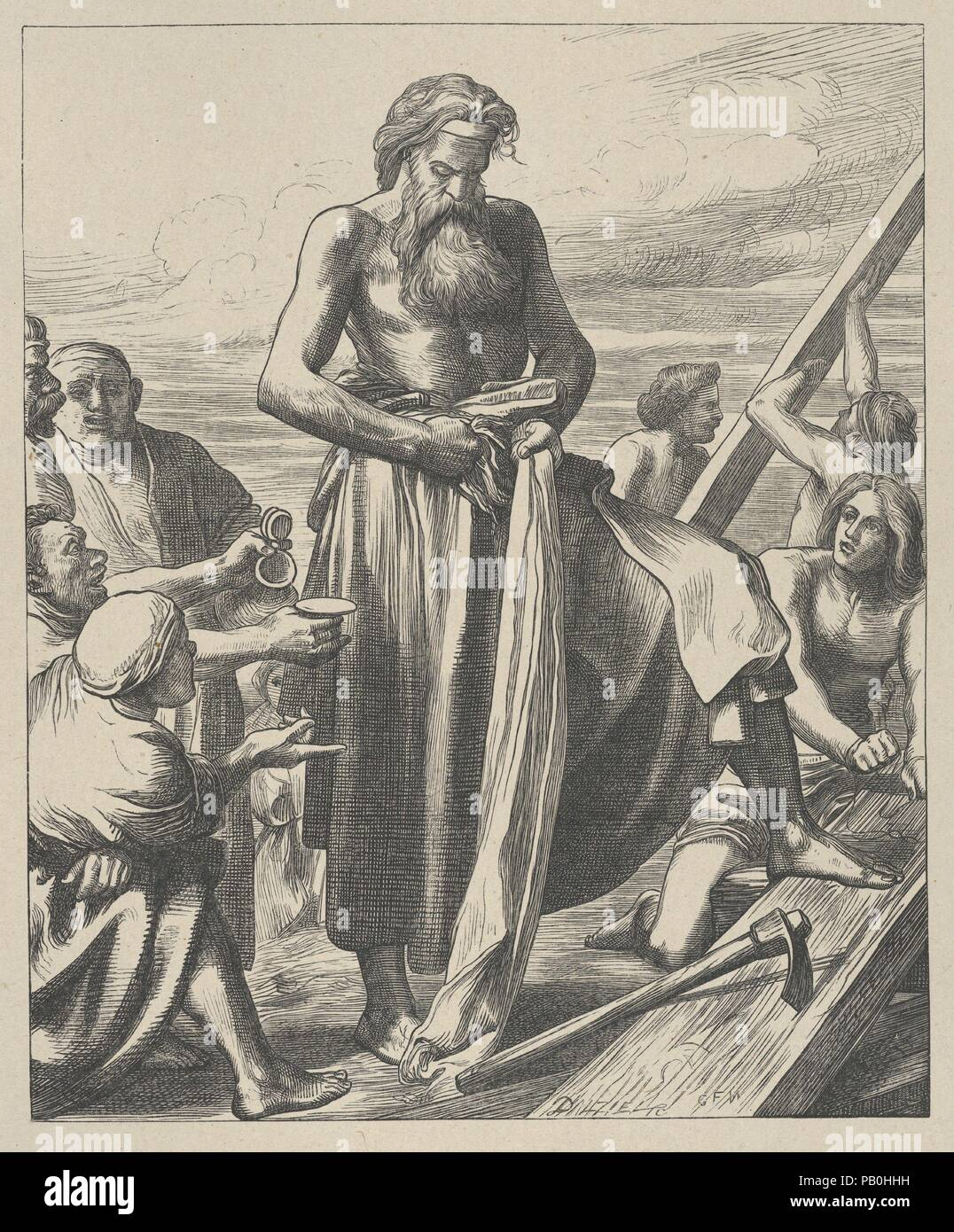 Noah Building the Ark (Dalziels' Bible Gallery). Artist: After George Frederic Watts (British, London 1817-1904 London). Dimensions: Image: 8 7/16 × 6 15/16 in. (21.5 × 17.6 cm)  India sheet: 10 1/4 × 8 11/16 in. (26.1 × 22.1 cm)  Mount: 16 7/16 in. × 12 15/16 in. (41.8 × 32.8 cm). Engraver: Dalziel Brothers (British, active 1839-1893). Printer: Camden Press (British, London). Publisher: Scribner and Welford (New York, NY). Date: 1881. Museum: Metropolitan Museum of Art, New York, USA. Stock Photo