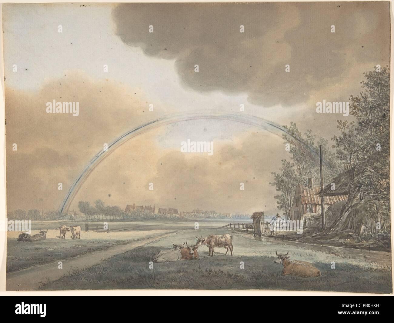 Landscape With A Rainbow Over Farmhouse And Distant Village Artist Vincent Jansz