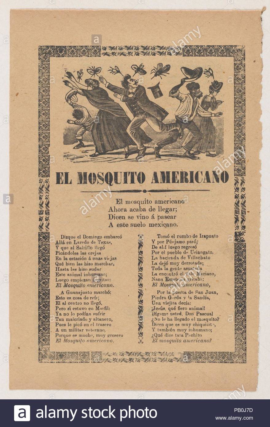 Broadsheet relating to the American Mosquito with verse critical of U.S. imperialism. Artist: José Guadalupe Posada (Mexican, 1851-1913). Dimensions: Sheet: 11 13/16 × 7 7/8 in. (30 × 20 cm). Publisher: Antonio Vanegas Arroyo (1850-1917, Mexican). Date: 1903. Museum: Metropolitan Museum of Art, New York, USA. - Stock Image