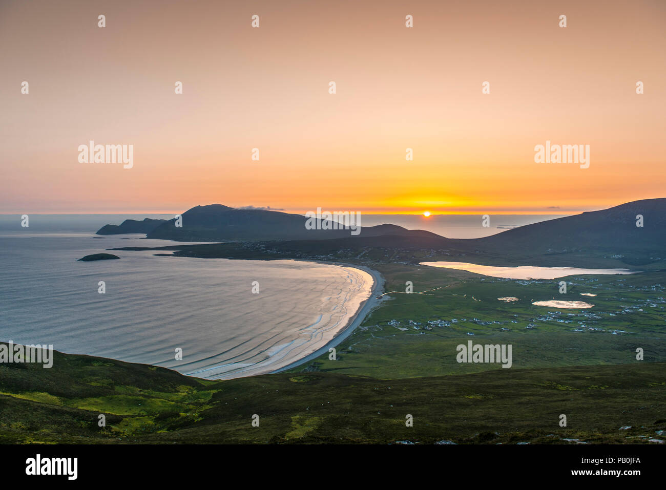 View of the Bay of Keel at sunset, Achill Island, County Mayo, Republic of Ireland - Stock Image