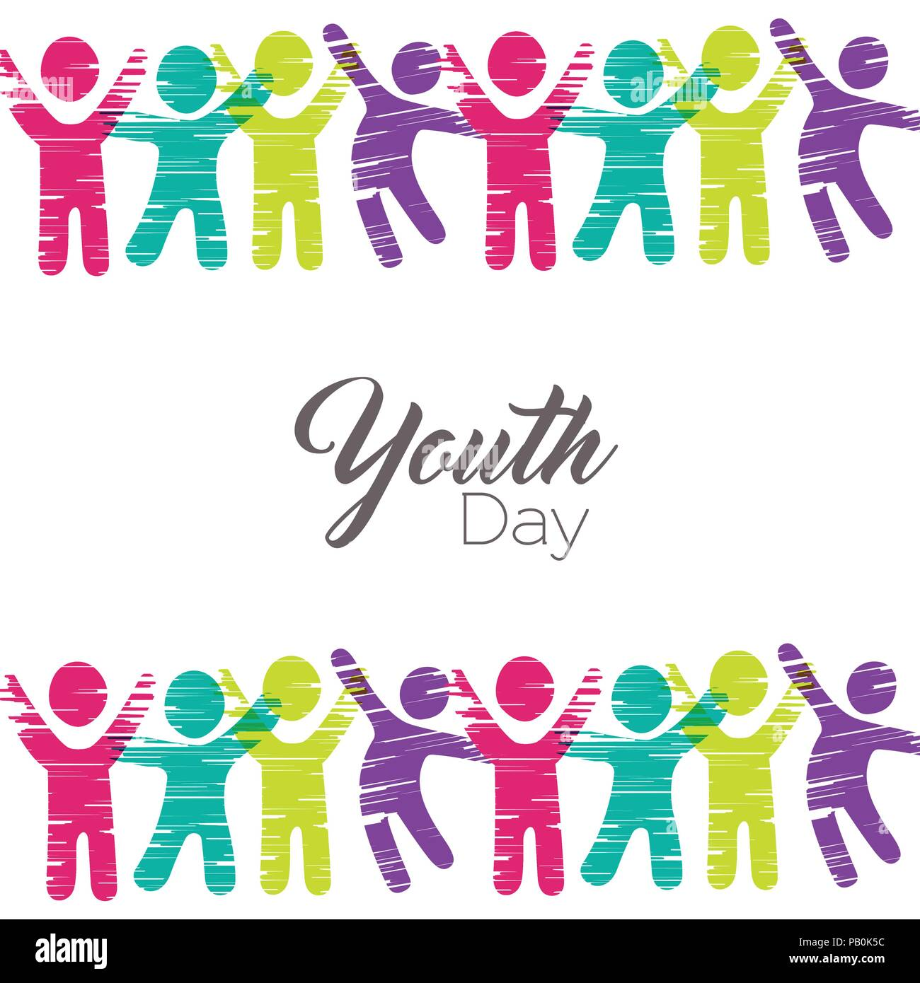 Happy Youth Day Greeting Card Illustration People Icons In