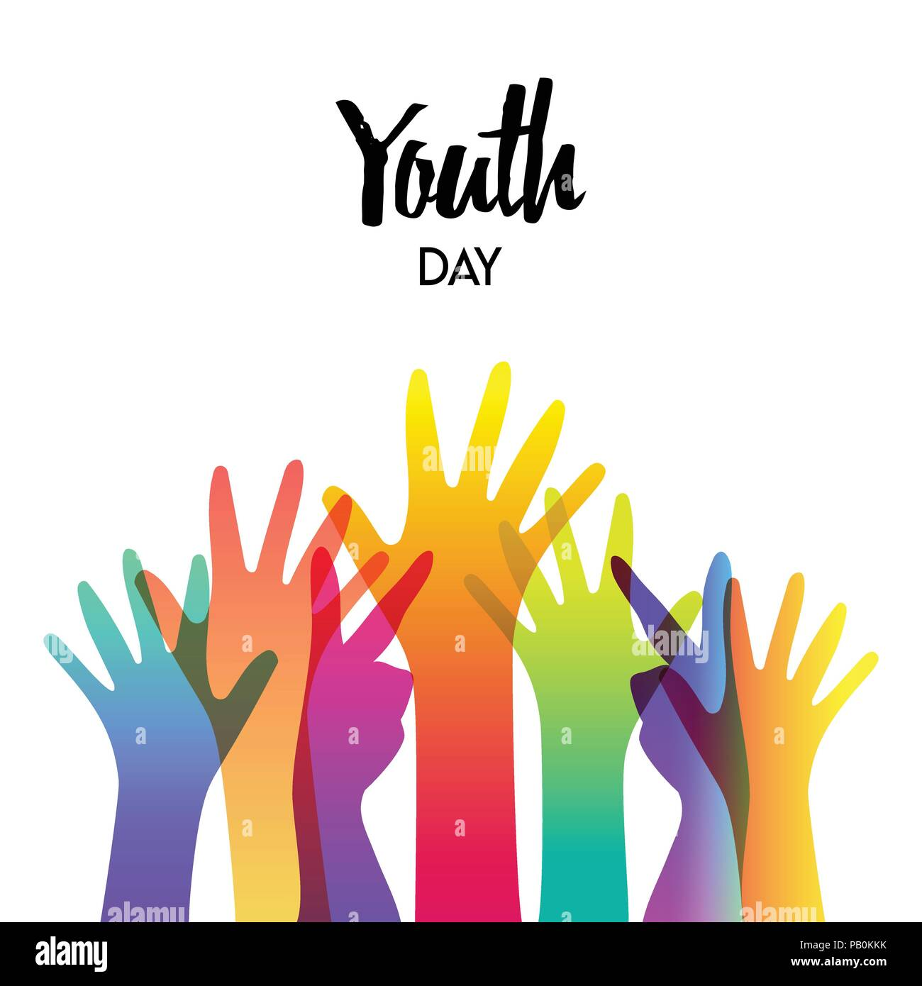 Happy Youth Day Greeting Card Of Diverse Color Hands And Text