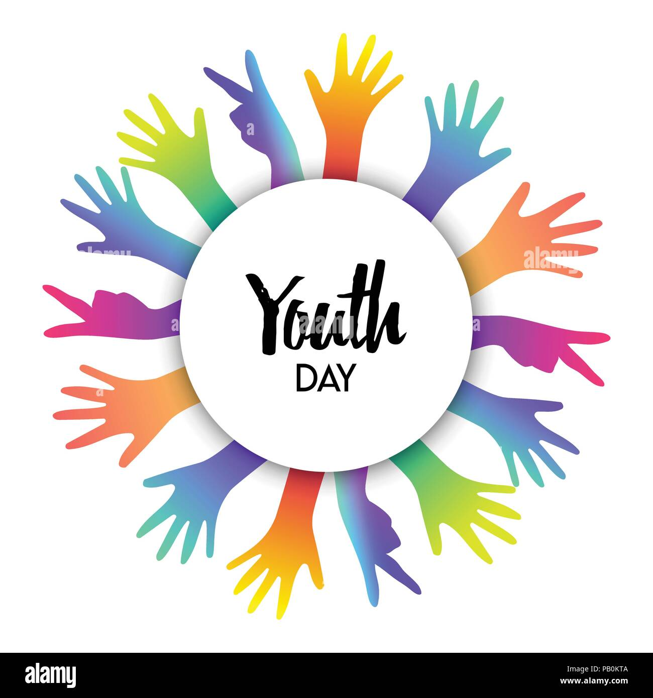 Happy Youth Day Greeting Card Of Diverse Color Hands And Text Quote Colorful Young People Group Concept Eps10 Vector