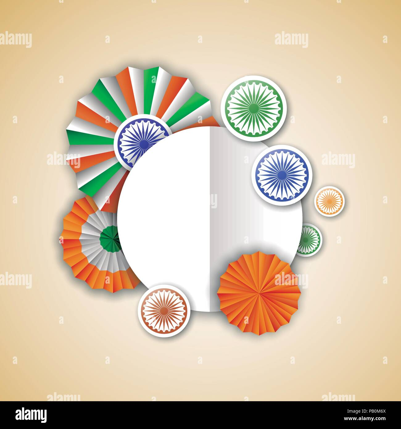 India Independence Day Greeting Card Template Indian Tricolor Badge