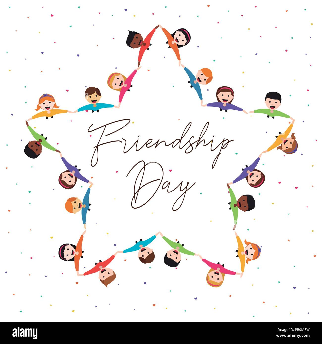 Happy friendship day greeting card illustration of diverse kid group happy friendship day greeting card illustration of diverse kid group in star shape holding hands from top view angle friend love concept for special m4hsunfo