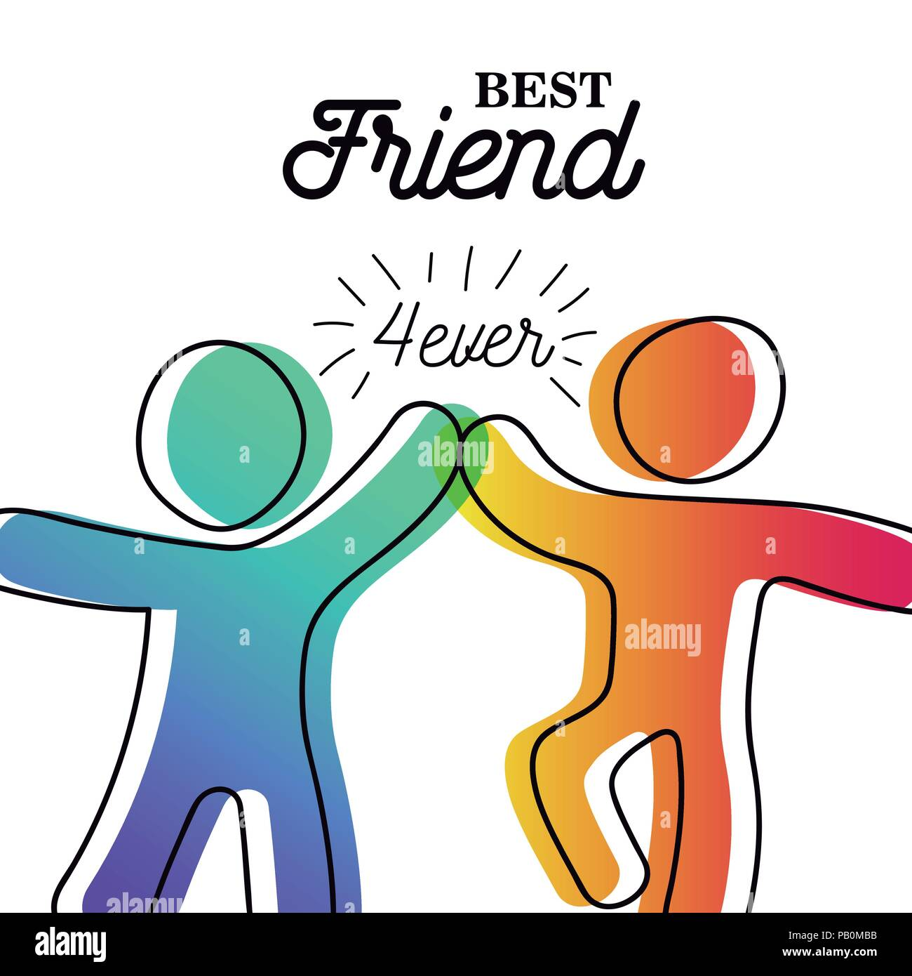 Happy friendship day greeting card friends doing high five for happy friendship day greeting card friends doing high five for special event celebration in simple stick figure art style with best friend forever qu m4hsunfo