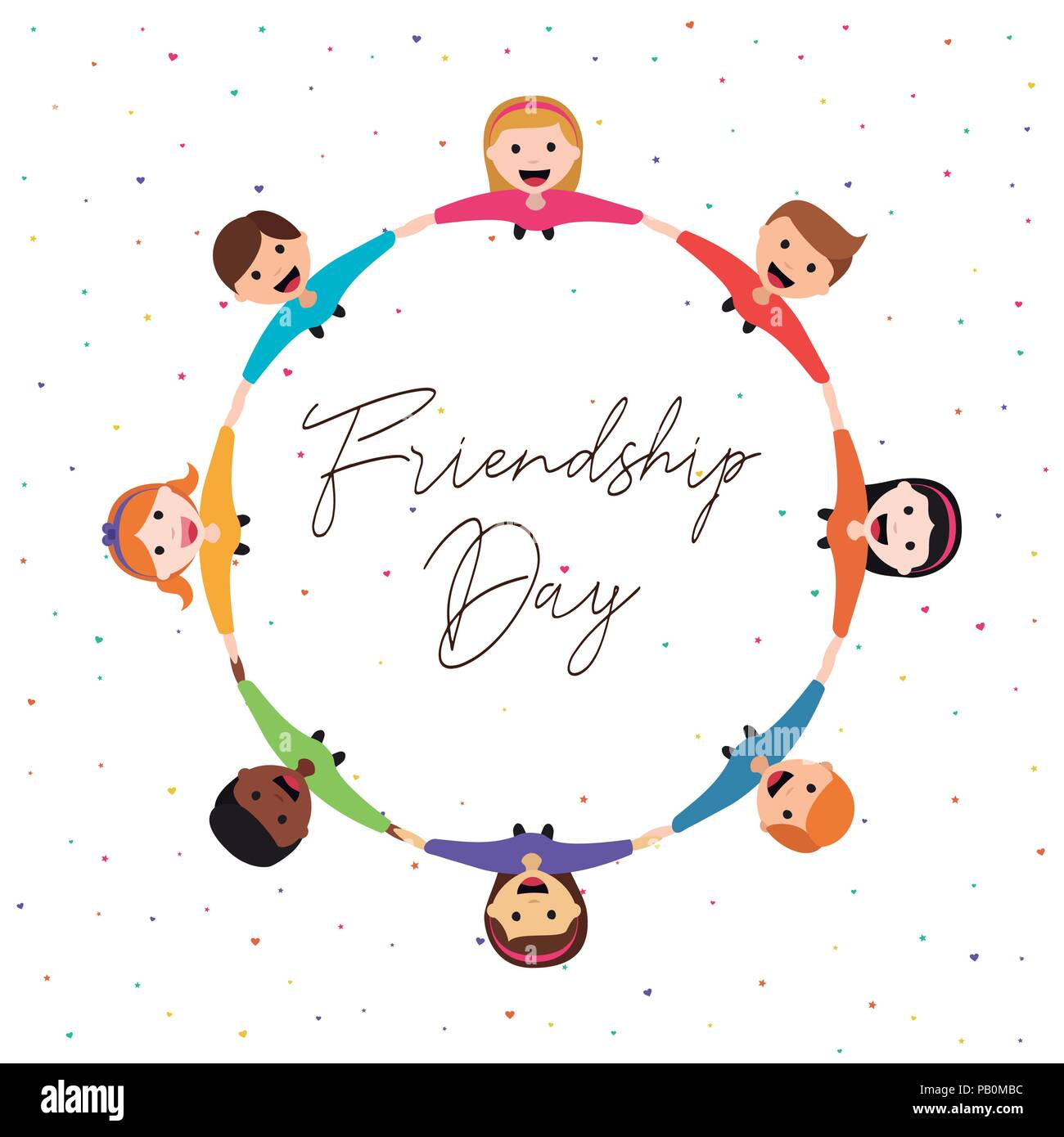 Happy Friendship Day Greeting Card Illustration Of Diverse Children