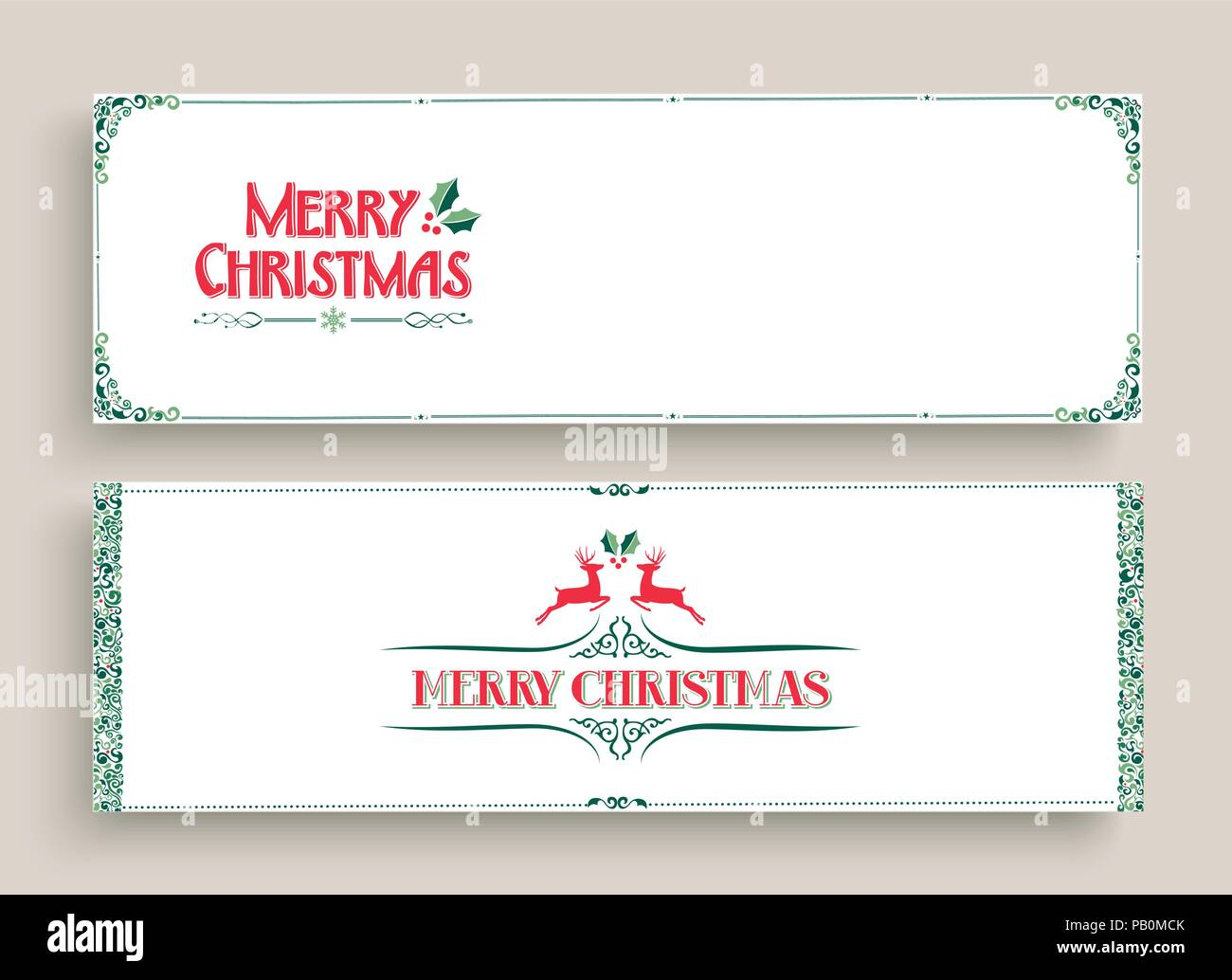 Merry Christmas web banner set in vintage ornamental style. Retro ...