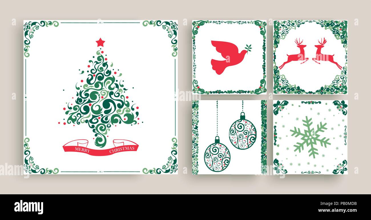 Merry christmas set of vintage holiday greeting card templates merry christmas set of vintage holiday greeting card templates retro style collection in festive colors with xmas pine tree reindeer animals ball o m4hsunfo