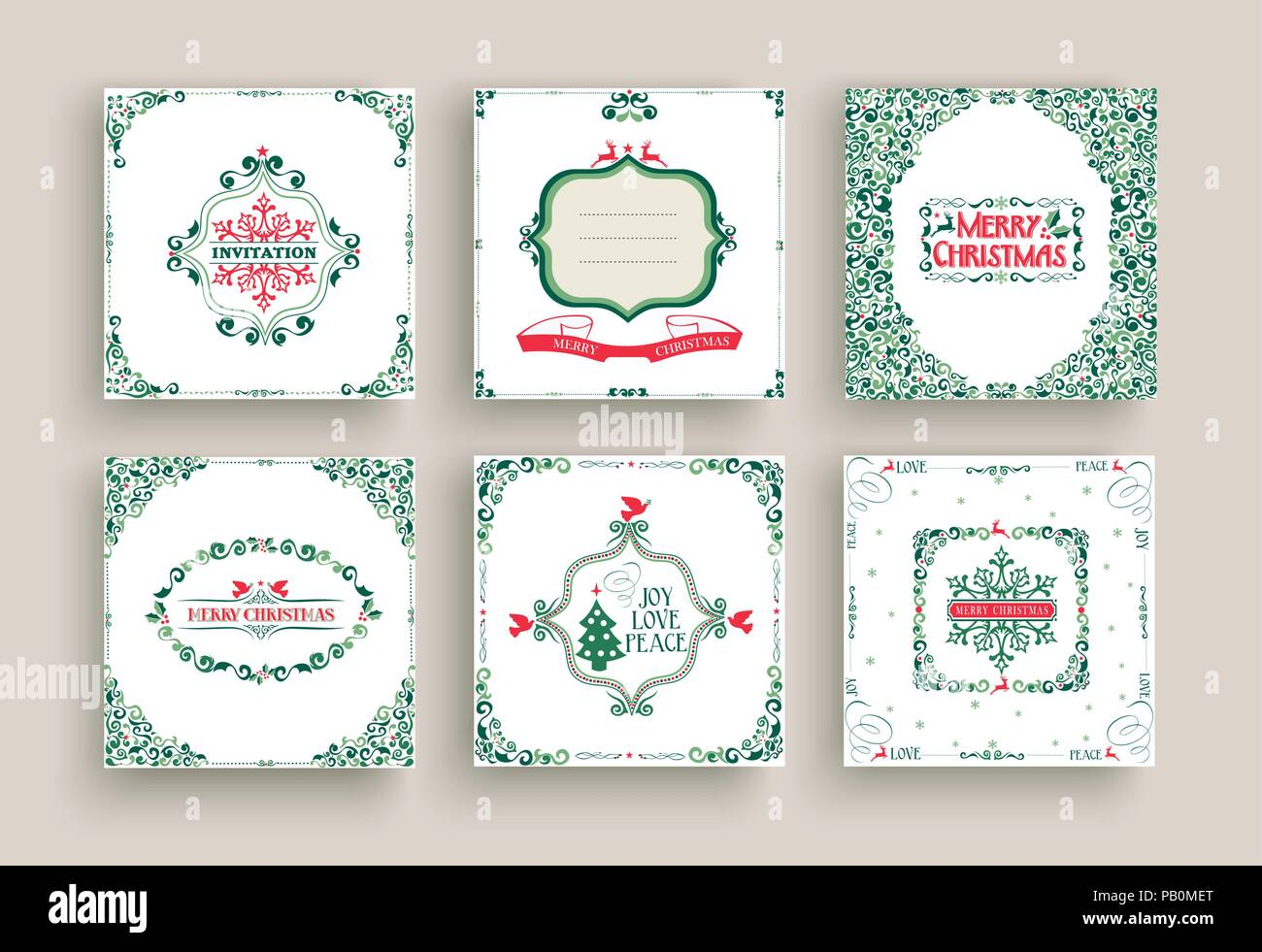 Merry Christmas greeting card set in vintage ornamental style. Retro ...