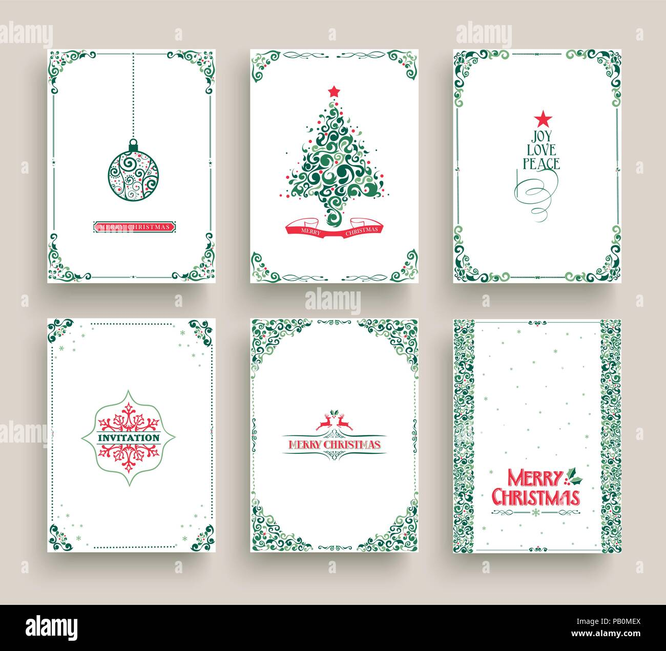 Merry christmas set of vintage holiday greeting card templates merry christmas set of vintage holiday greeting card templates retro style collection in festive colors with xmas pine tree winter snowflake ball o m4hsunfo