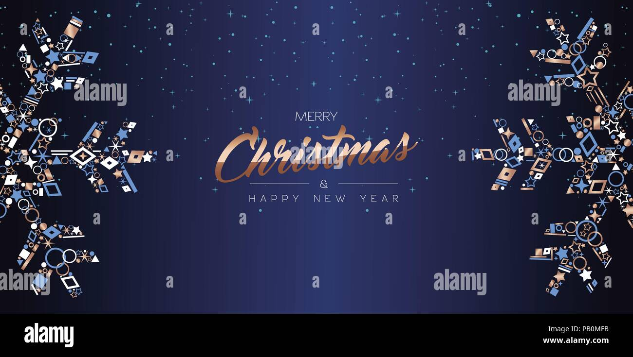 merry christmas and happy new year web banner design elegant snowflake decoration made of luxury copper icons on night sky background eps10 vector
