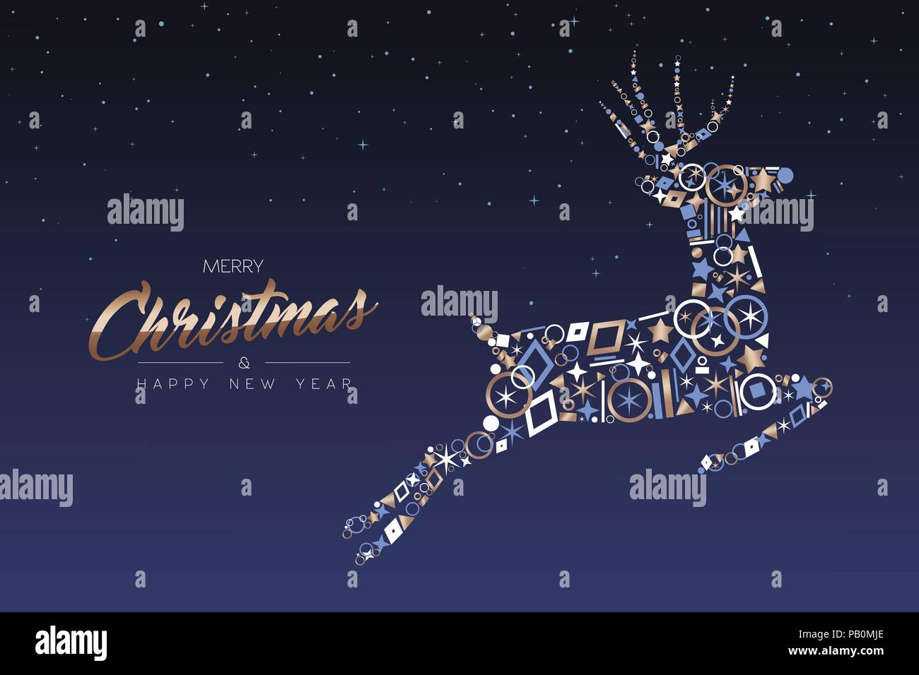 merry christmas and happy new year greeting card elegant xmas reindeer made of outline icon luxury decoration copper color holiday illustration eps