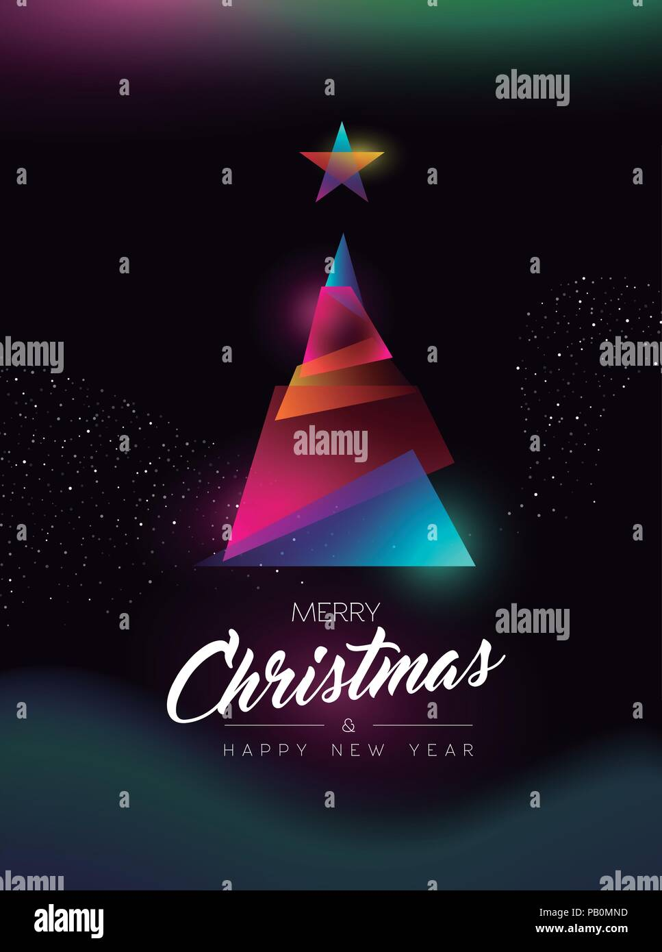 Merry Christmas And Happy New Year Greeting Card Of Colorful Xmas