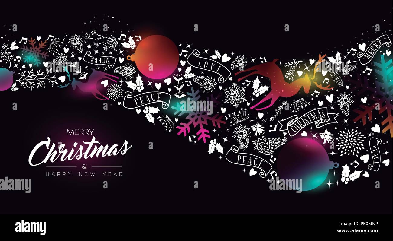 Merry Christmas And Happy New Year Greeting Card Of Colorful