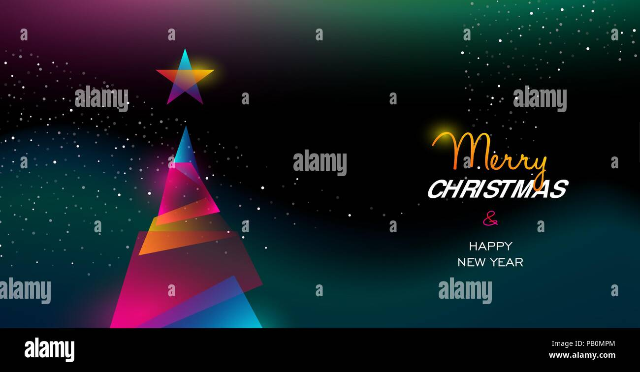 Merry Christmas and Happy New Year greeting card of colorful xmas ...
