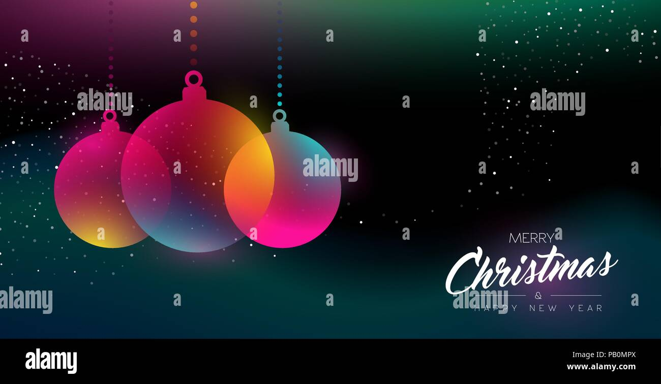 Merry Christmas And Happy New Year Greeting Card Of Colorful Bauble
