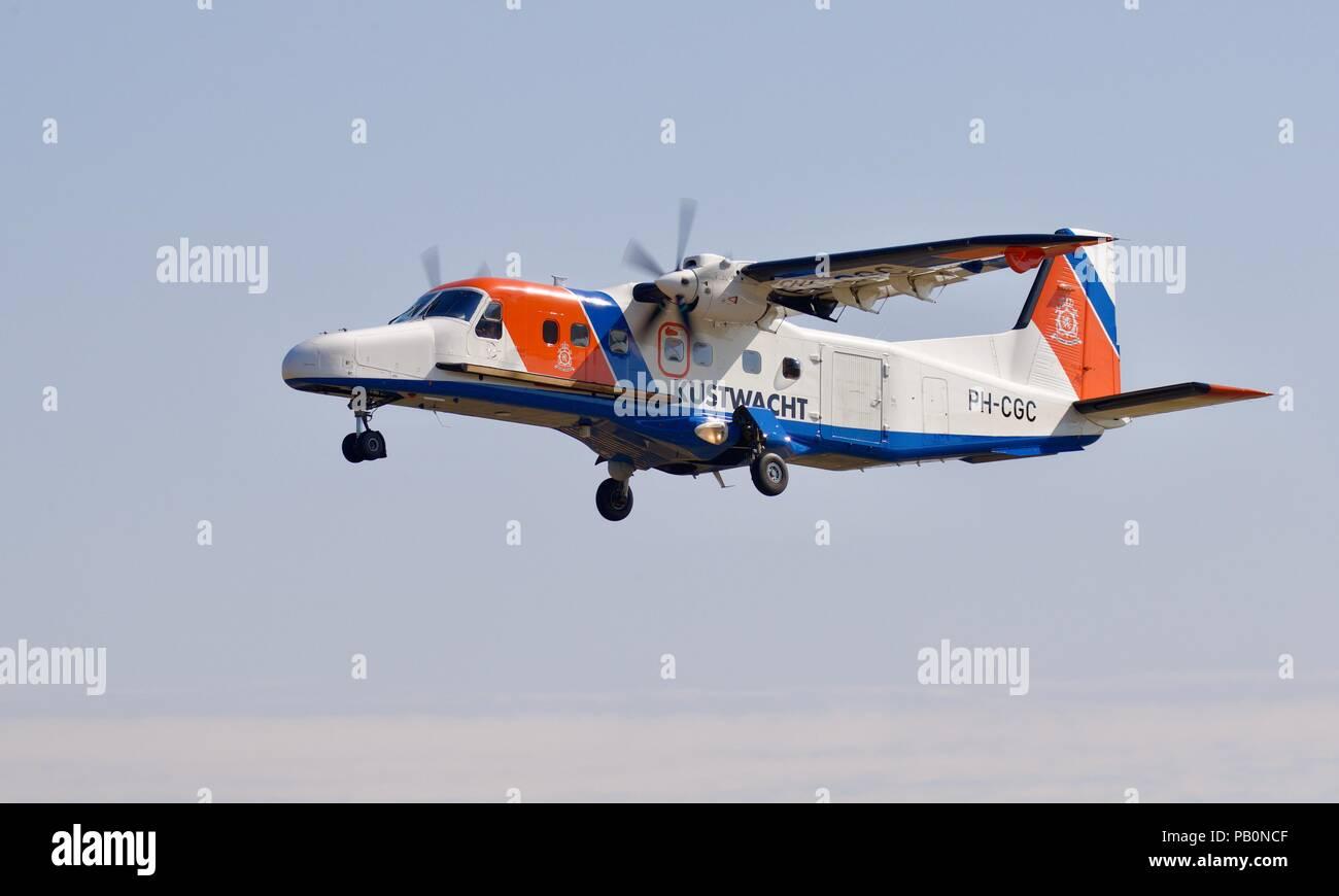 Netherlands. Coastguard  Dornier Do-228 landing at RAF Fairford for the 2018 Royal International Air Tattoo - Stock Image