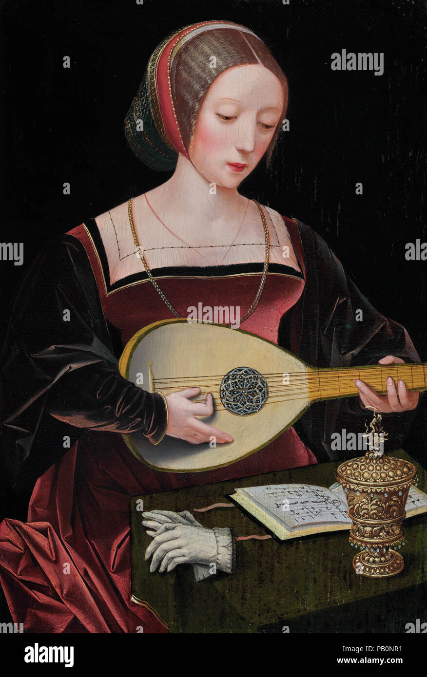 A young lady playing a lute, by the Master of the Female Half-lengths. - Stock Image