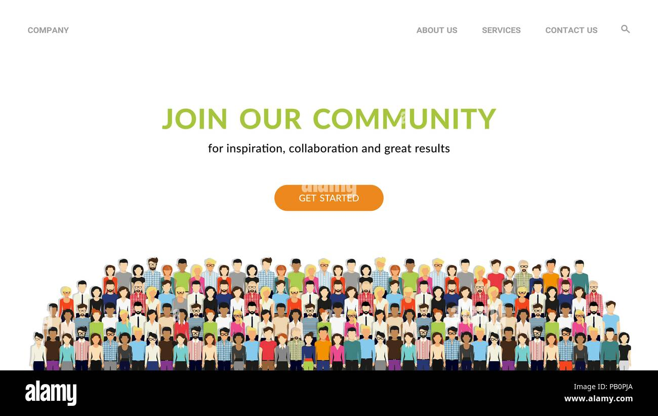 Join our community flat concept vector website template and landing flat concept vector website template and landing page design for invitation to summit or conference crowd of united people as a b stopboris Image collections