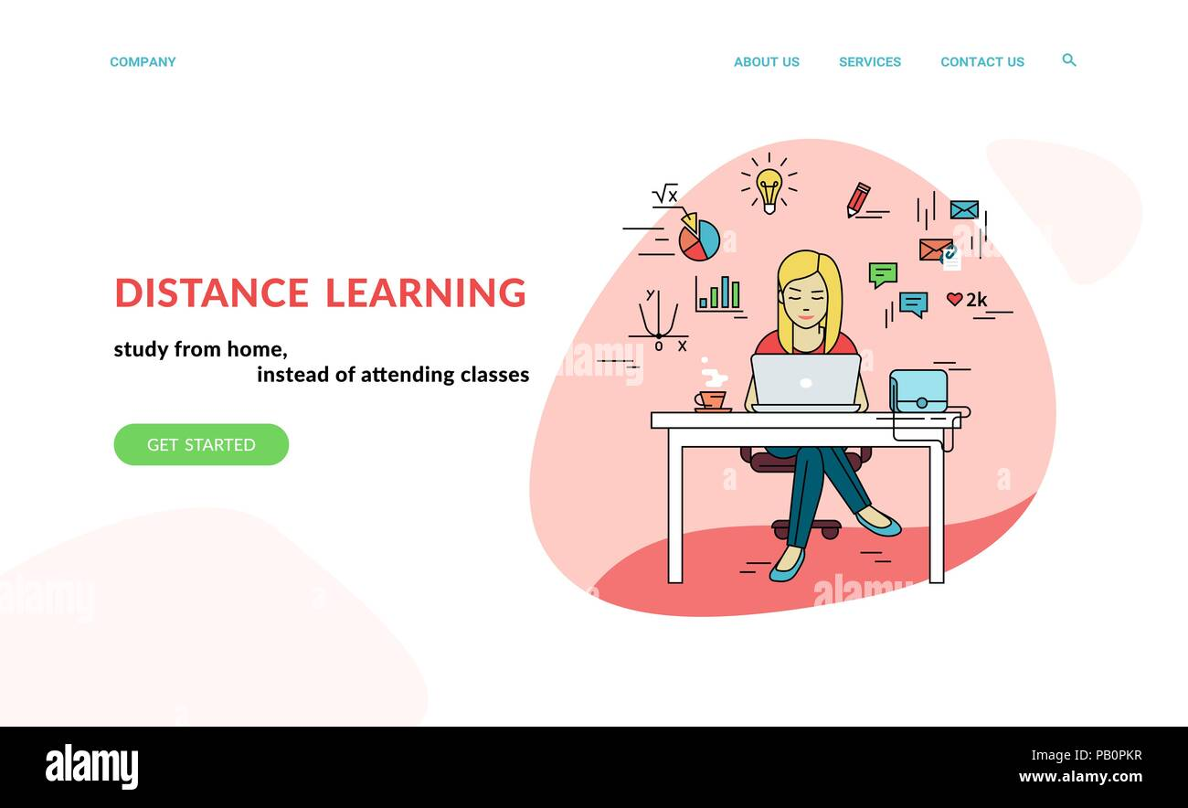 working with laptop at workplace flat concept vector website