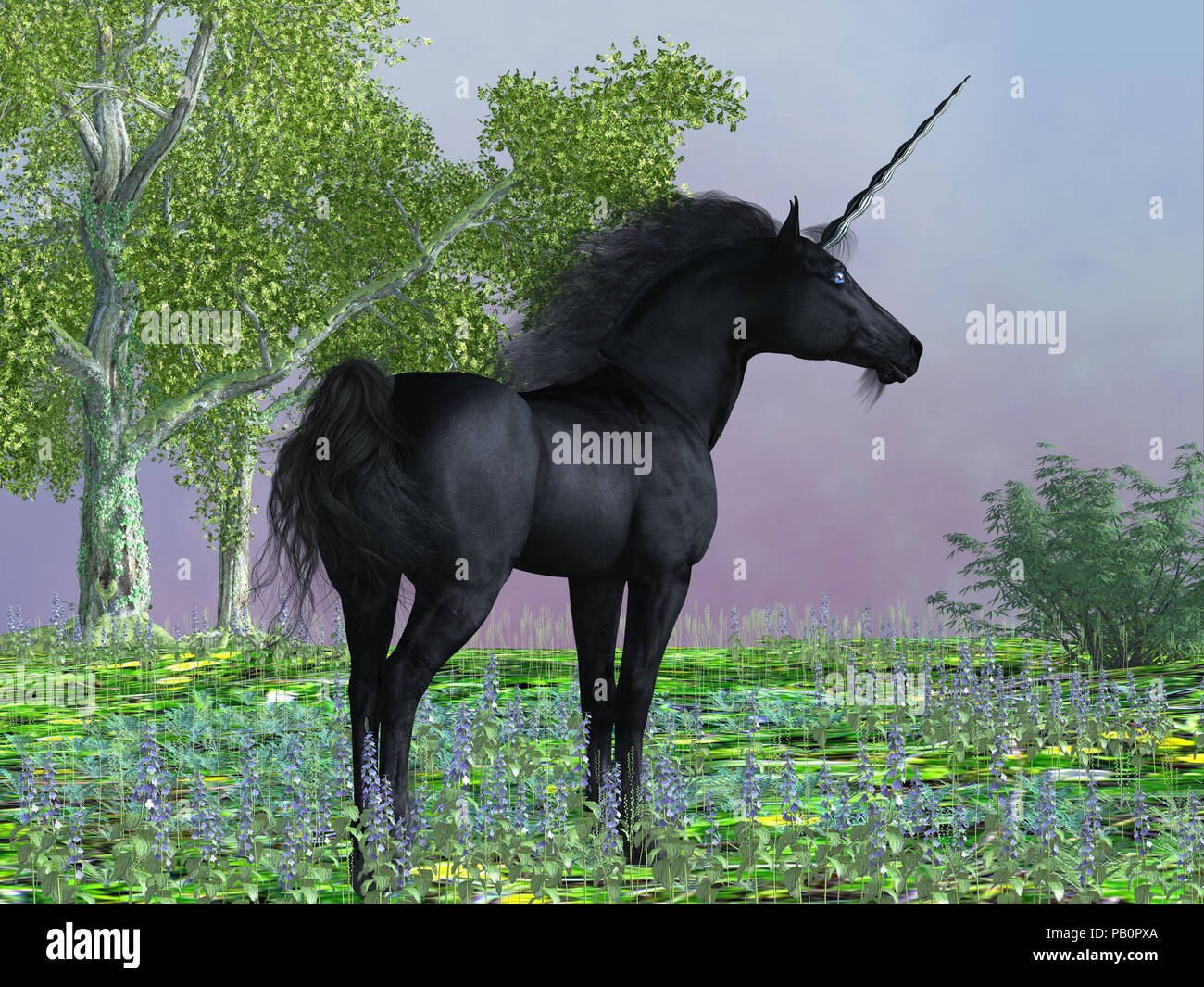 Black Beauty Unicorn - Purple flowers surround a beautiful black satin unicorn with a forehead horn and cloven hooves. - Stock Image