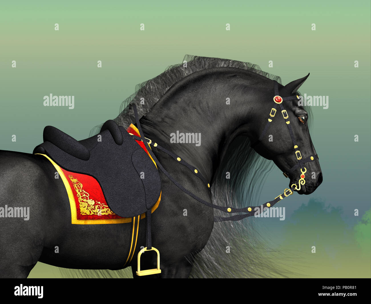Dark Horse - A Friesian black stallion adorned with fancy Classic saddle and bridle horse tack. - Stock Image