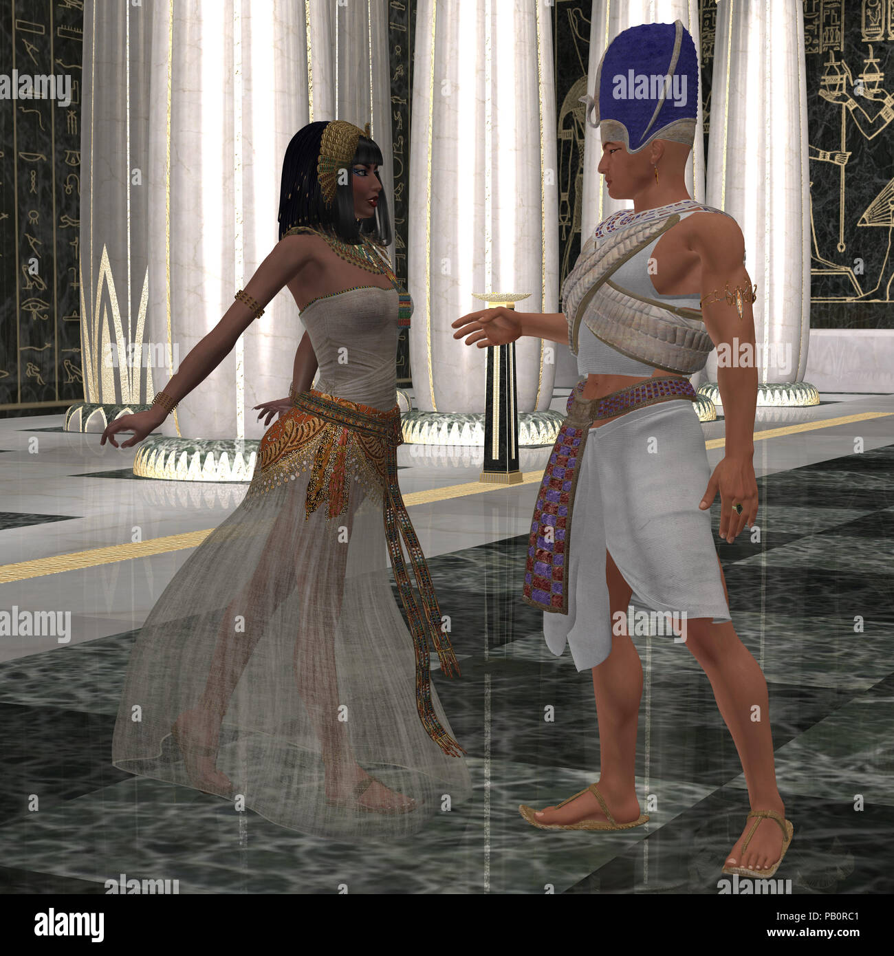 Egyptian Couple - Beautiful Pharaoh's wife dances for him in the throne room full of pillars of Egypt's Old Kingdom. - Stock Image