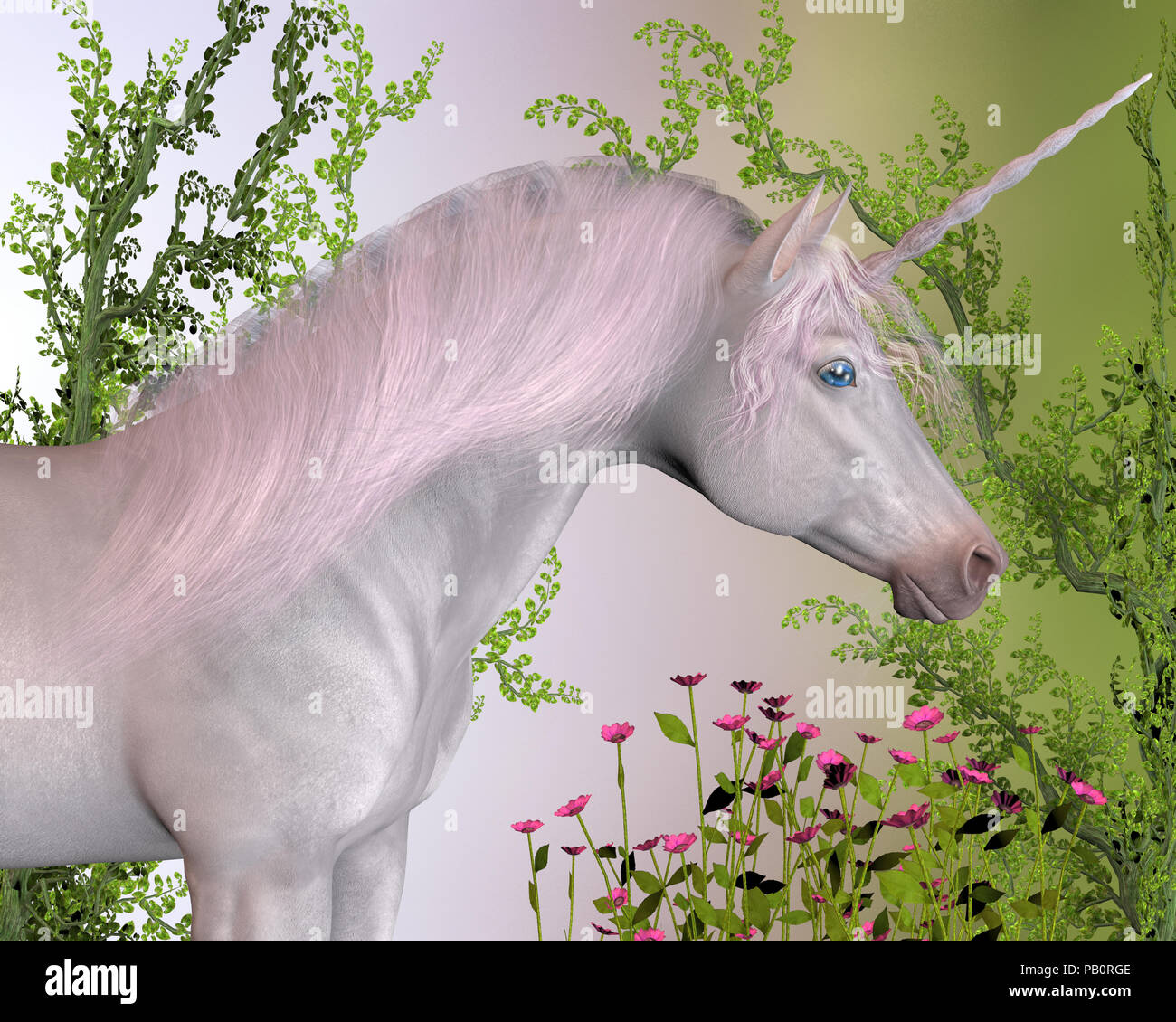 Enchanted Unicorn - A white enchanted unicorn mare with pink mane stands by pink flowers and green ivy vines. - Stock Image