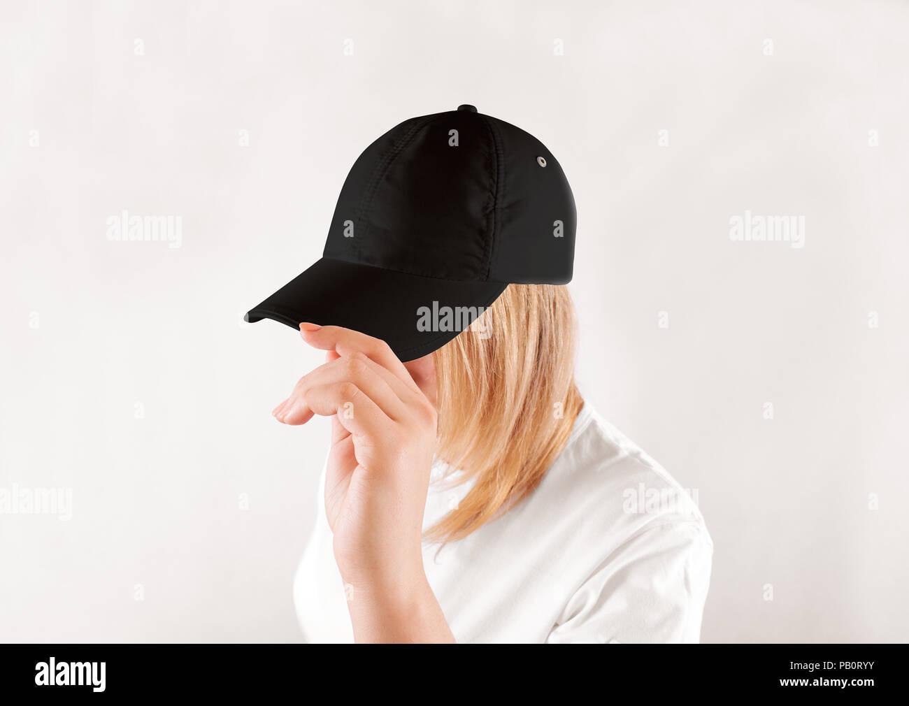 Blank Black Baseball Cap Mockup Template Wear On Women Head