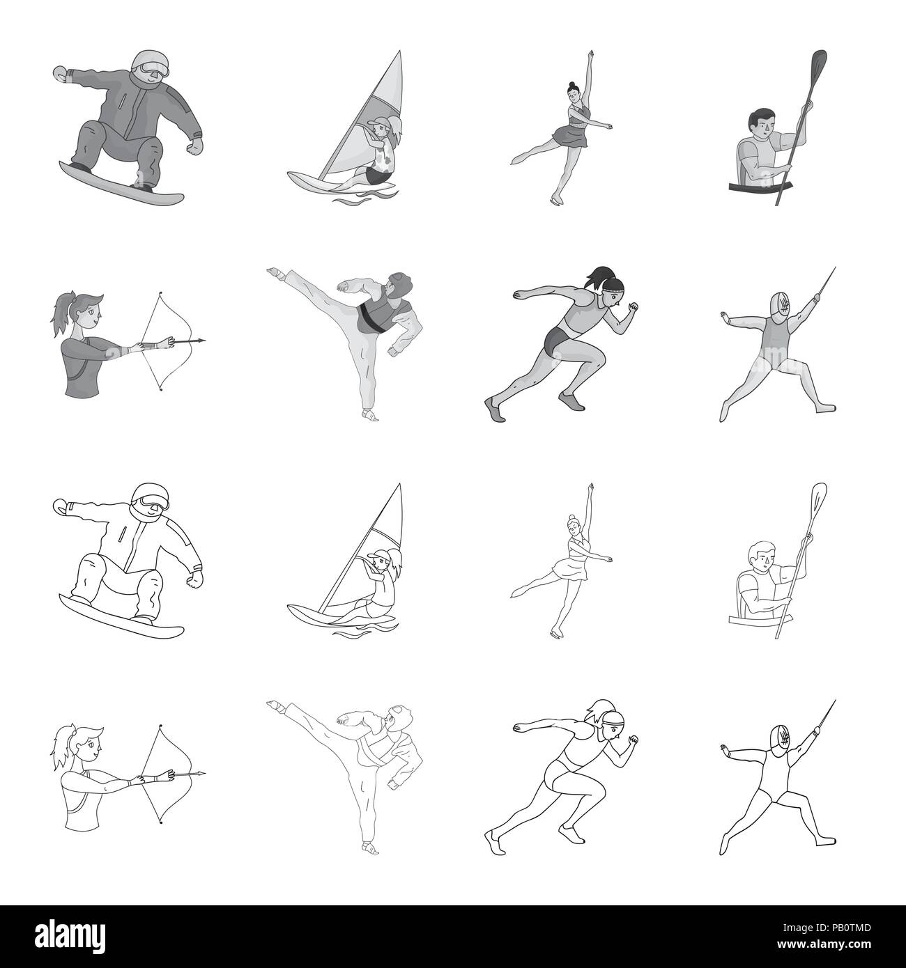 Archery, karate, running, fencing. Olympic sport set collection icons in outline,monochrome style vector symbol stock illustration . - Stock Vector