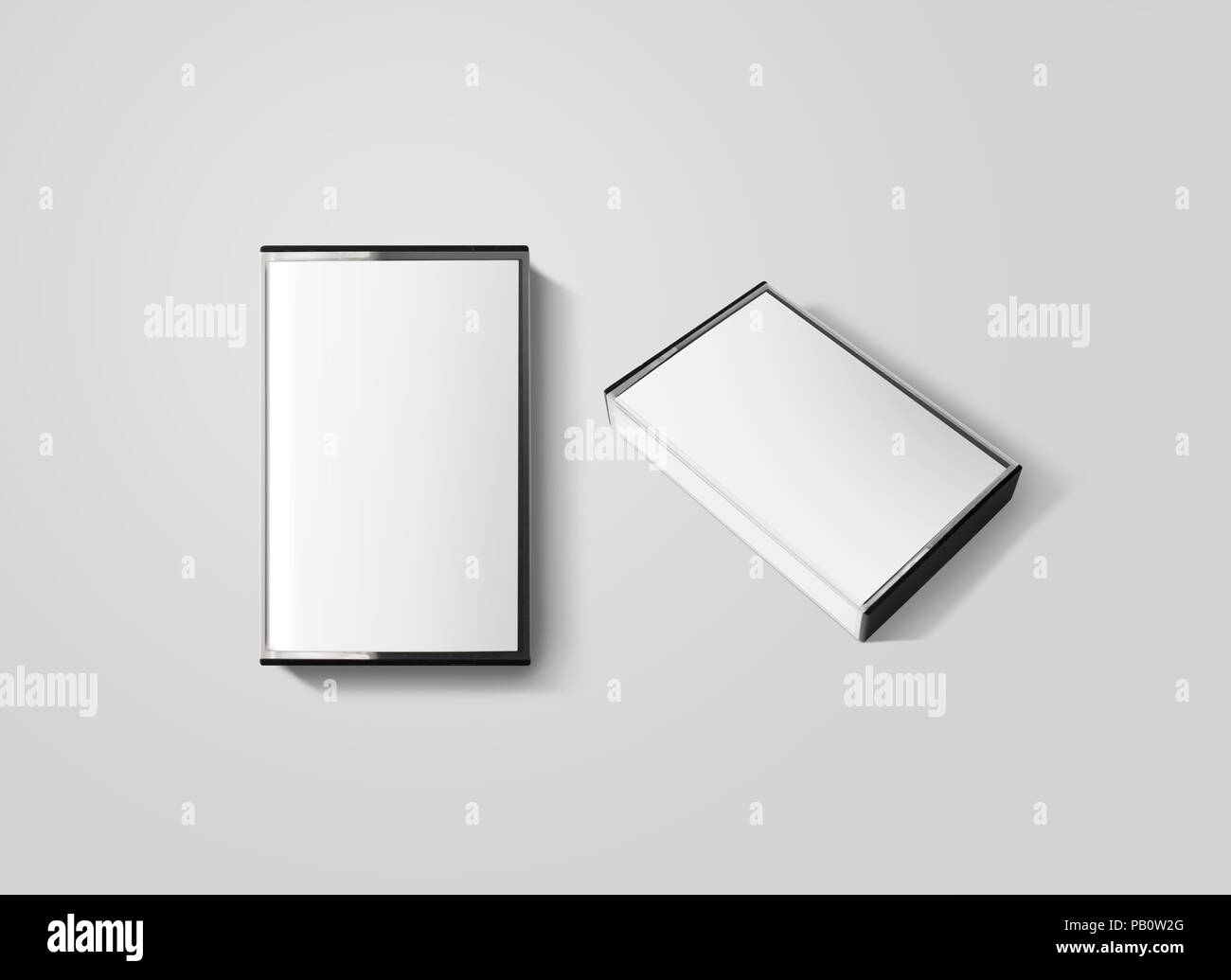 Blank cassette tape box design mockup, isolated, top and side view. Vintage cassete tape case retro mock up. Plastic analog magnetic tape casete clear - Stock Image