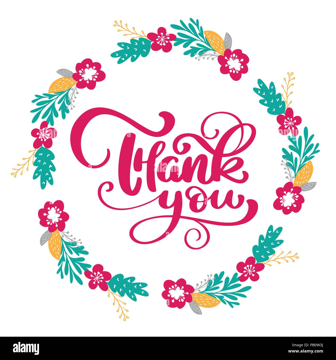 Thank you Hand drawn text with wreath of flowers. Trendy hand ...