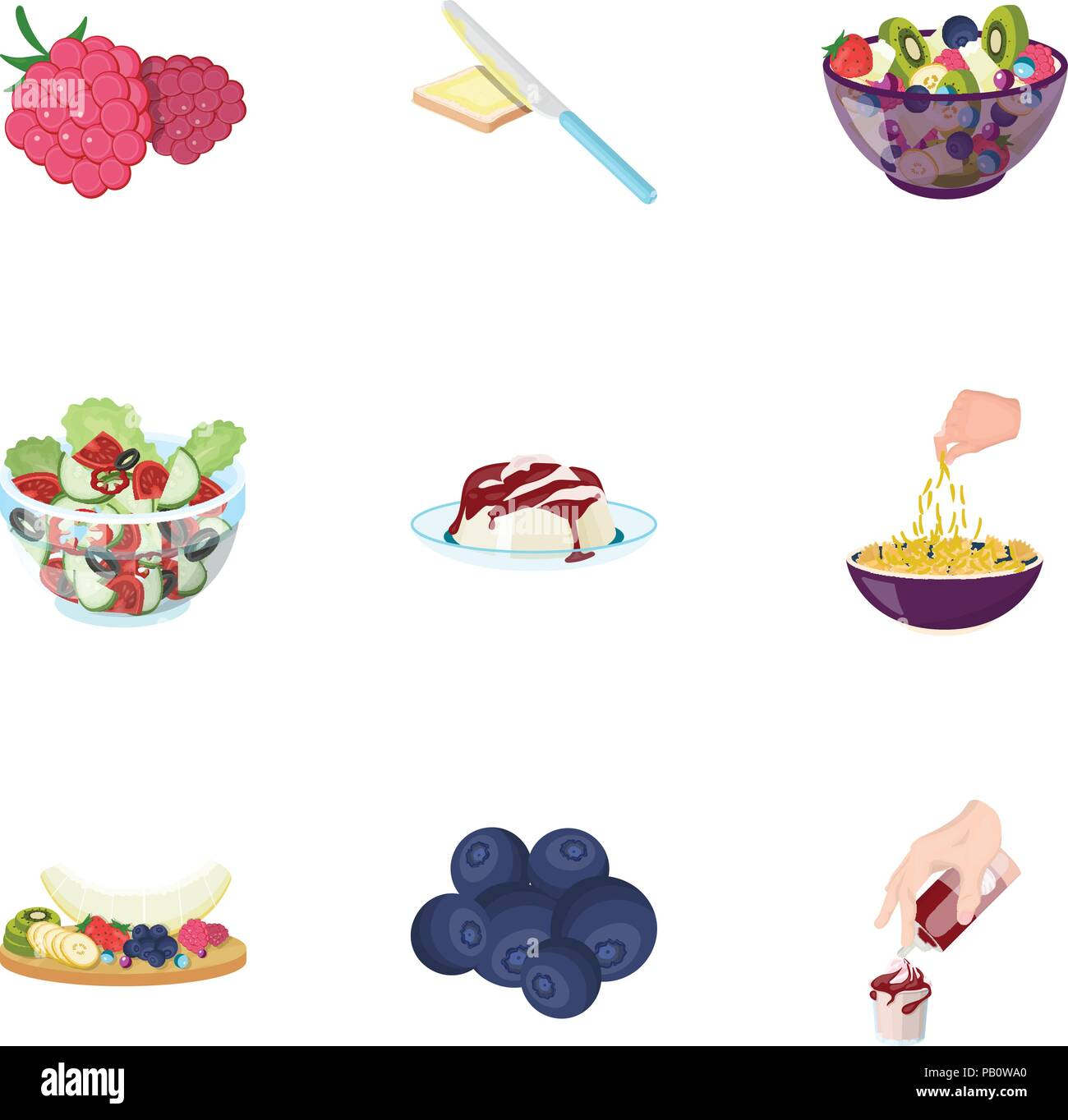 Fruit, dessert, sandwiches and other types of food. Food set collection icons in cartoon style vector symbol stock illustration . - Stock Vector