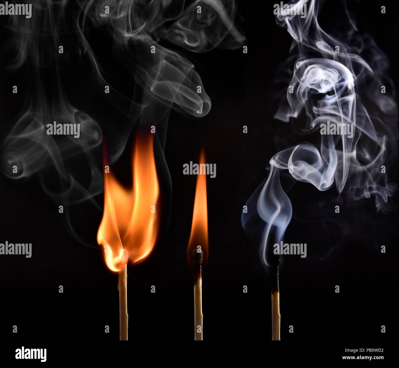Sequence of ignition of a matchstick from lighting to being blown up and capturing the beautiful drawings made by the smoke. Done on black background - Stock Image
