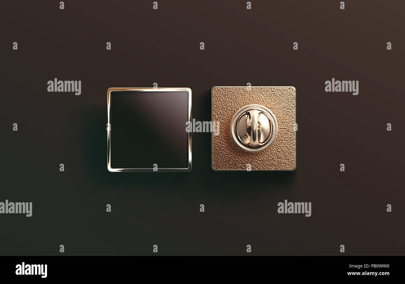Blank Gold Enamel Pin Black Mock Up Front And Back Side View 3d Rendering Empty Luxury Hard Lapel Badge Mockup Golden Clasp Design Template M