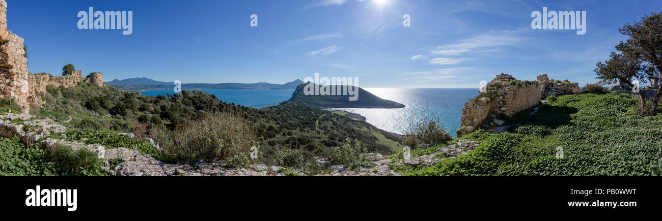 Panorama of Pylos Bay from Old Navarino Castle in Peloponnese, Greece. - Stock Image