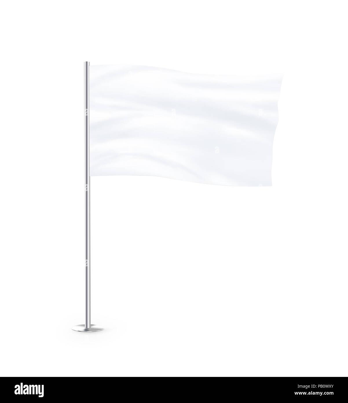 Blank white flag mock up stand at white background isolated. Large wavy flagpole mockup ready for business logo design presentation. Surrender symbol  - Stock Image