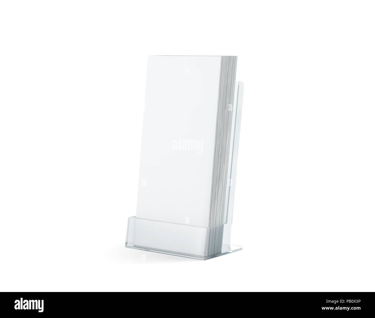 Blank white flyers stack mock up in glass plastic holder, 3d ...