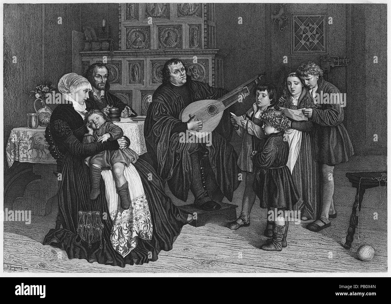 Luther and his Family, Engraving by L. Schulz, 1900, after original Painting by Gustav Adolph Spangenberg - Stock Image