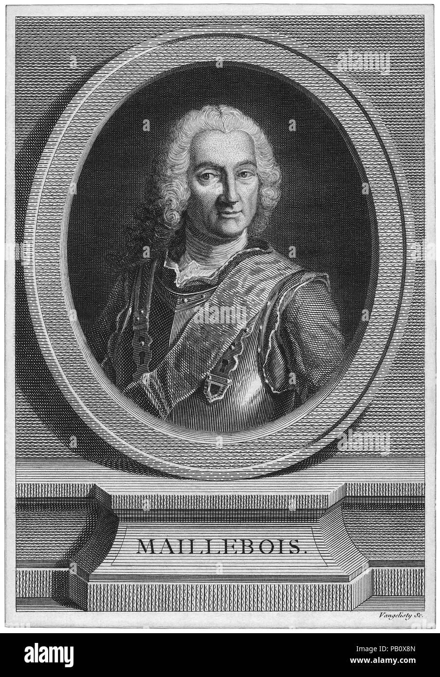 Jean-Baptiste Francois des Marets, marquis de Maillebois (1682-1762), French Marshal, Portrait, Engraving - Stock Image