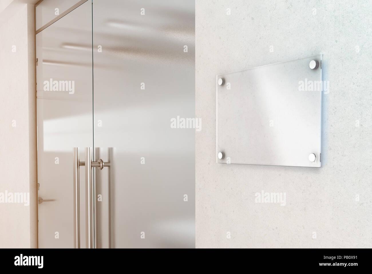 Blank Transparent Glass Sign Plate Design Mockup 3d Rendering