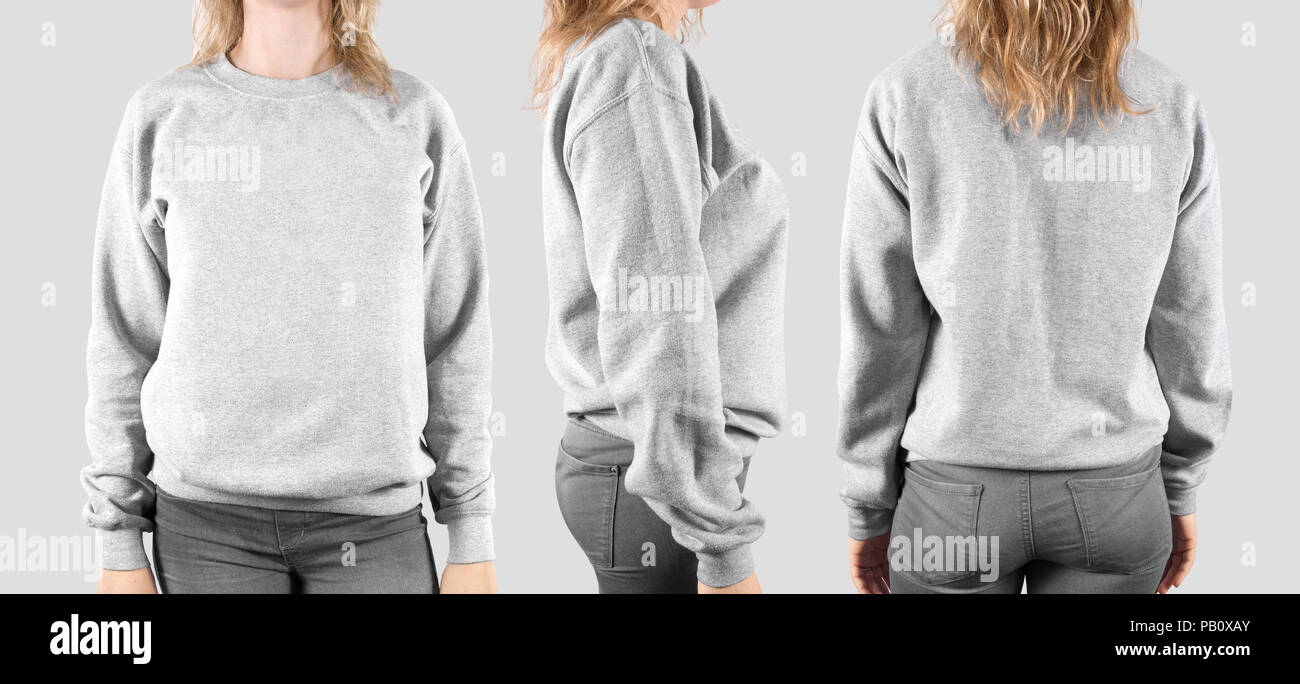 blank sweatshirt mock up front back and profile isolated female