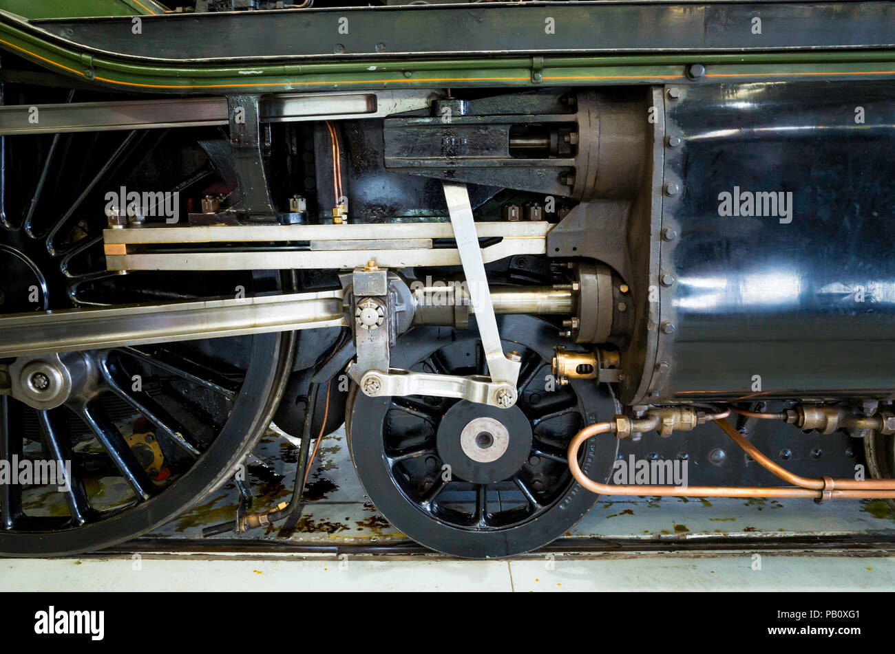 Valve gear of Ex LNER class A3 express passenger steam locomotive Flying Scotsman on display at Locomotion National Railway Museum Shildon Stock Photo