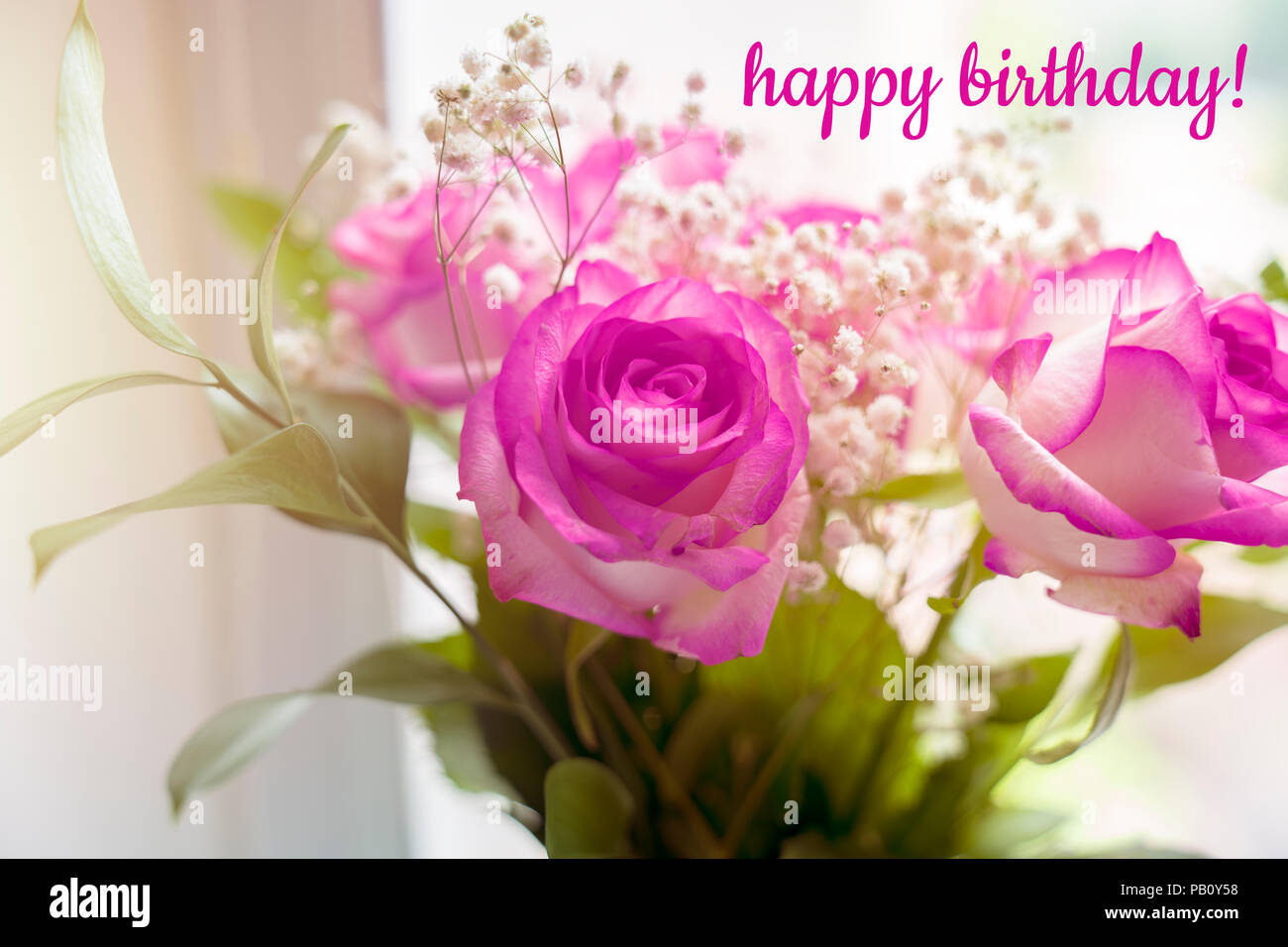 Beautiful Bouquet Of Roses On A Window With The Text Happy Birthday