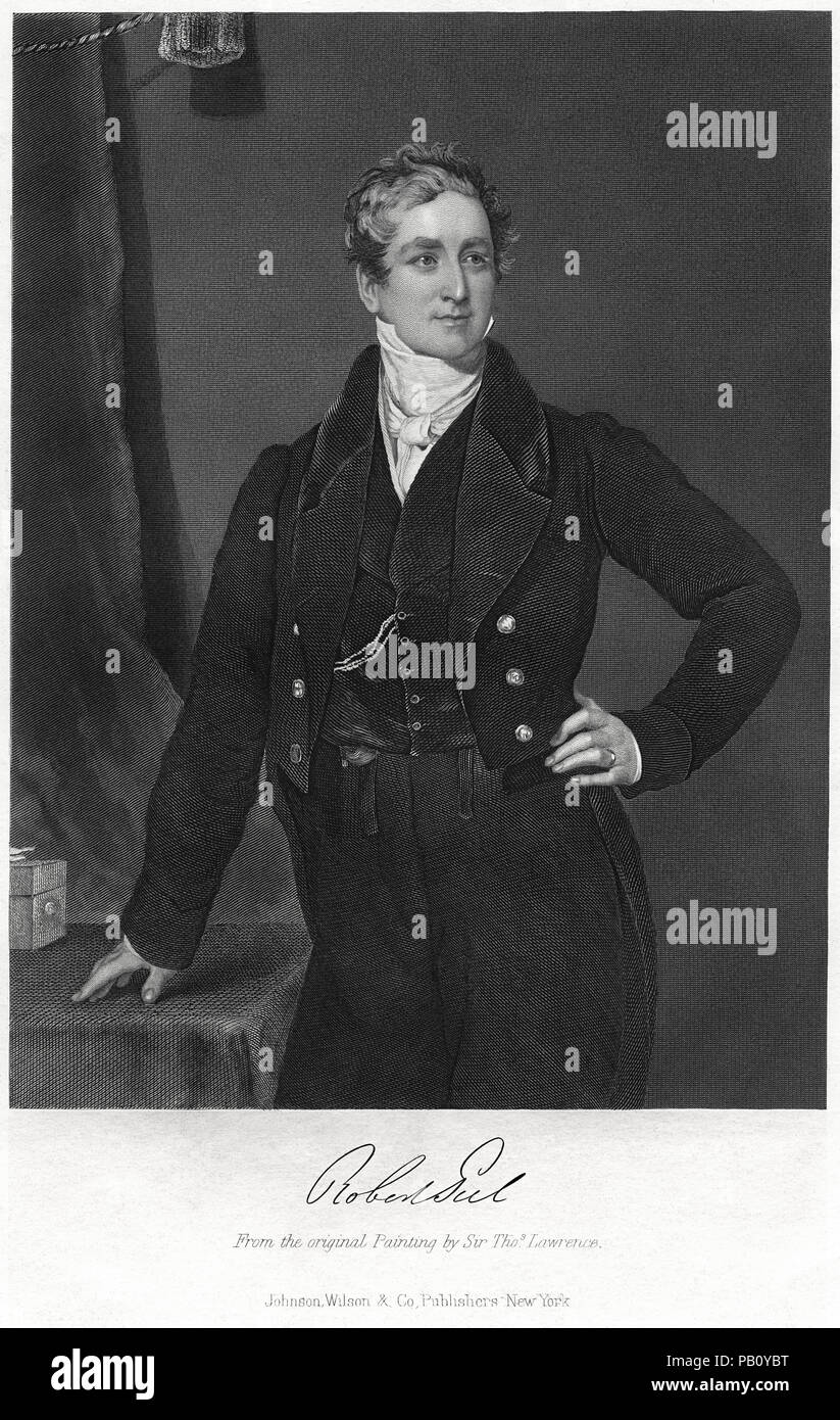 Sir Robert Peel (1788-1850), British Statesman and two-time Prime Minister, Engraving from an Original Painting by Sir Thomas Lawrence, Portrait Gallery of Eminent Men and Women in Europe and America, Johnson, Wilson & Company Publishing, New York, 1873 - Stock Image