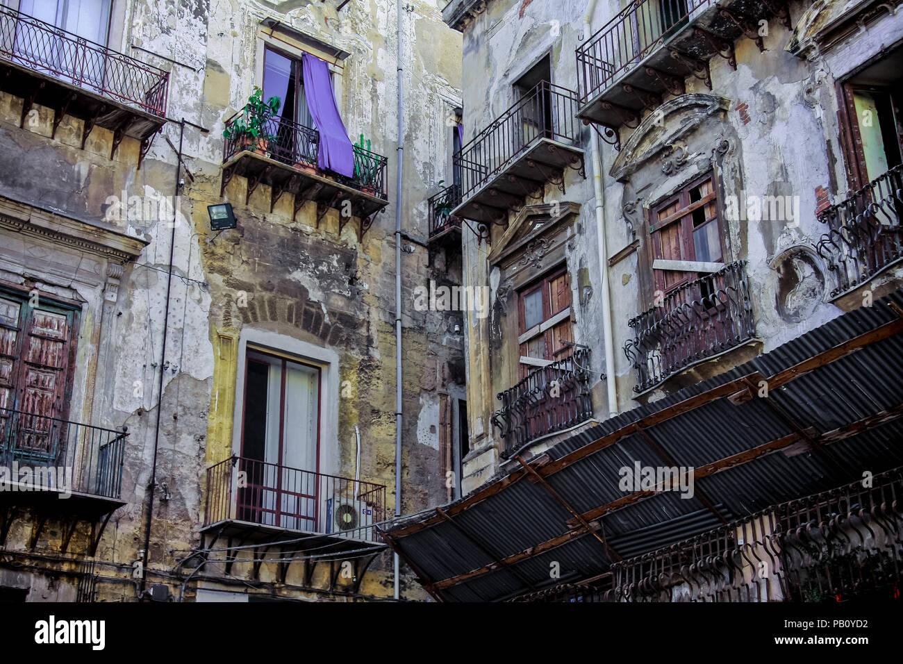 Old houses in Palermo, Sicily, Italy - Stock Image